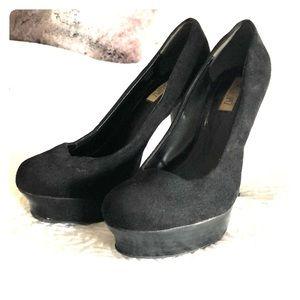 Jennifer Lopez black suede platform heels